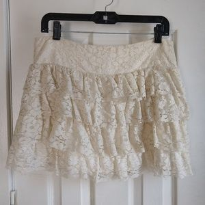 Tiered Crocheted Lace Mini Skirt